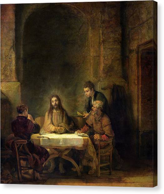 Rembrandt Canvas Print - The Supper At Emmaus, 1648 Oil On Panel by Rembrandt Harmensz van Rijn