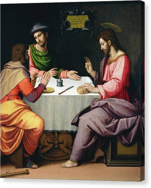 Pilgrims Canvas Print - The Supper At Emmaus, C.1520 Oil On Canvas by Ridolfo Ghirlandaio
