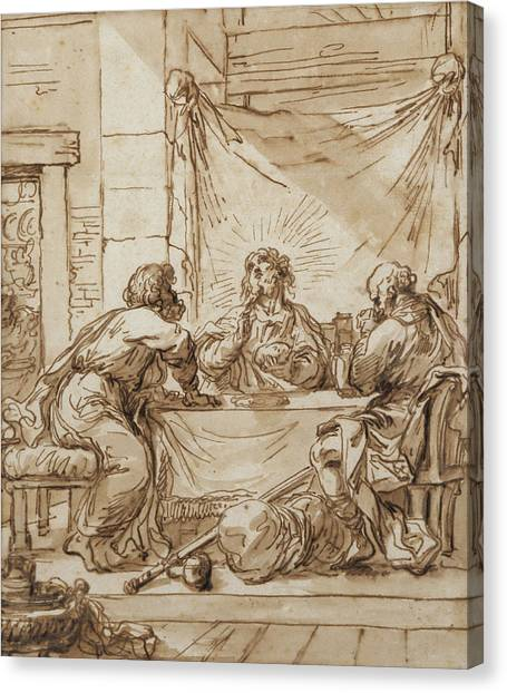 The Christ Ink Drawing Canvas Print - The Supper At Emmaus  by Guercino