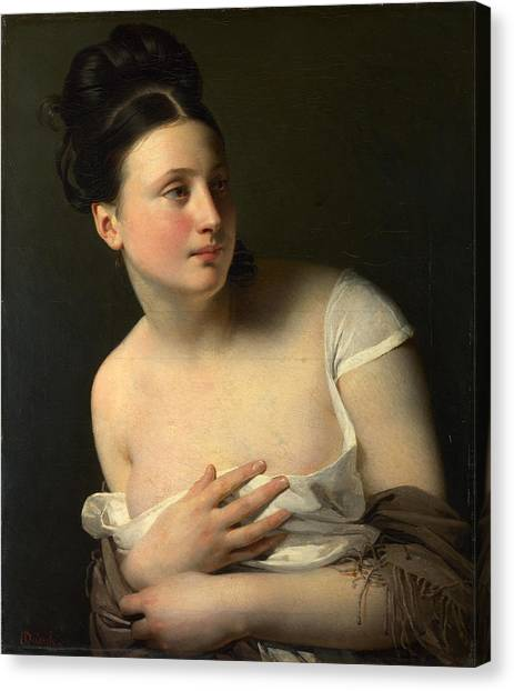 Canvas Print featuring the painting The Surprise by Claude-Marie Dubufe