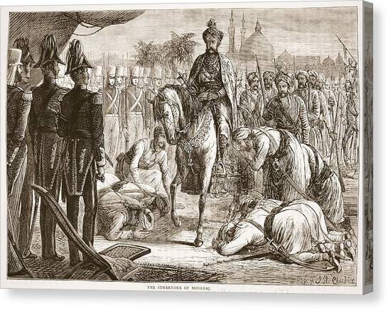 Sikh Canvas Print - The Surrender Of Moolraj, Illustration by English School