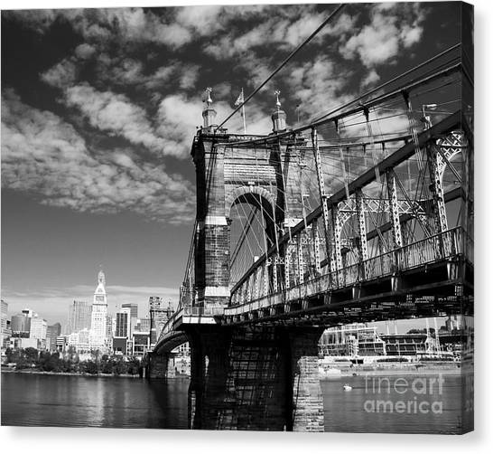 Canvas Print featuring the photograph The Suspension Bridge Bw by Mel Steinhauer