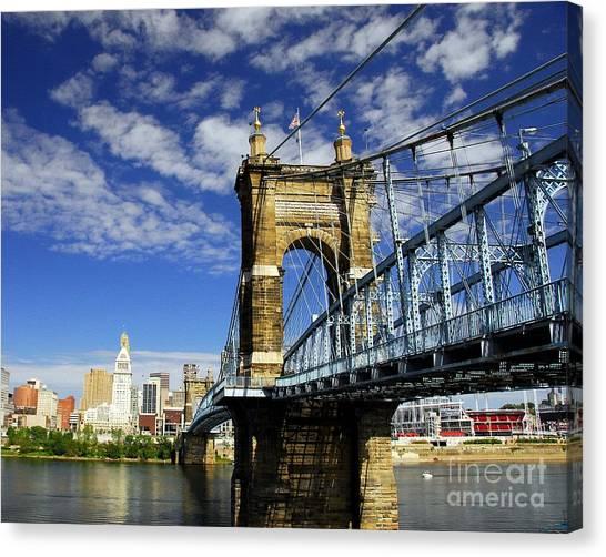 Canvas Print featuring the photograph The Suspension Bridge by Mel Steinhauer