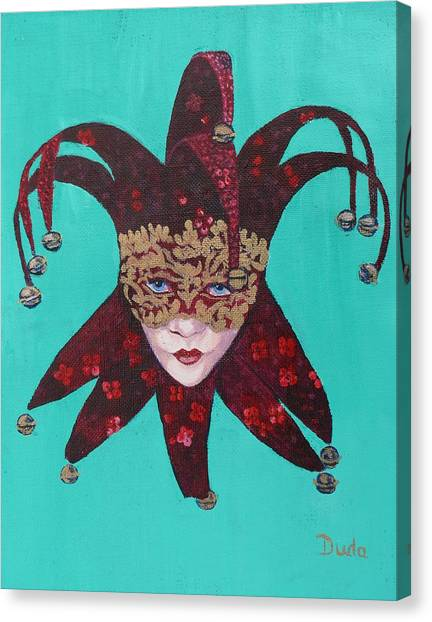 The Sweetheart Of Arlecchino Colombina Venitian Mask Canvas Print