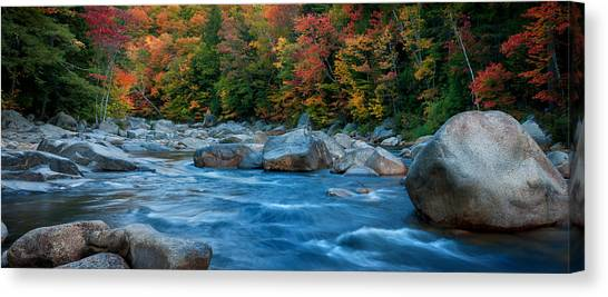 The Swift River Of New Hampshire-an Autumn Grand Landscape Canvas Print by Expressive Landscapes Nature Photography