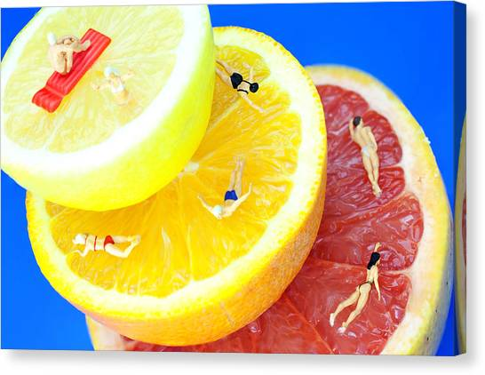 The Swimming Pool Little People On Food Canvas Print