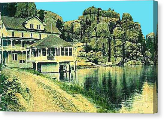 The Sylvan Lake Hotel In Ouster Sd C.1910 Canvas Print by Dwight Goss