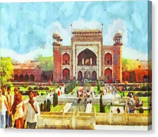 The Taj Mahal Gardens Canvas Print