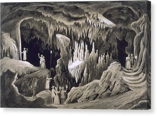 Stalagmites Canvas Print - The Tapestry Room, Weyers Cave, Augusta by Edward Beyer