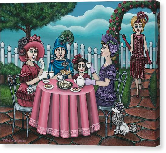 Sandwich Canvas Print - The Tea Party by Victoria De Almeida