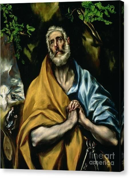 Confession Canvas Print - The Tears Of St Peter by El Greco Domenico Theotocopuli