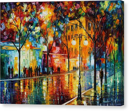 Famous Artists Canvas Print - The Tears Of The Fall - Palette Knife Oil Painting On Canvas By Leonid Afremov by Leonid Afremov