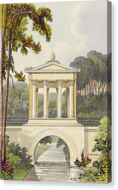 Neoclassical Art Canvas Print - The Temple Bridge, From Ackermanns by John Buonarotti Papworth