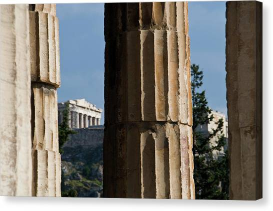 The Temple Of Hephaestus With Acropolis Canvas Print
