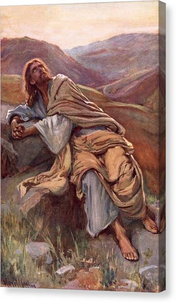 Messiah Canvas Print - The Temptation Of Christ by Harold Copping
