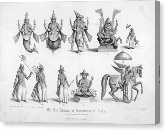 Incarnation Canvas Print - The Ten Avatars (incarnations) by Mary Evans Picture Library