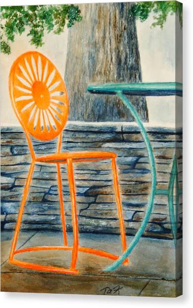 The Terrace Chair Canvas Print by Thomas Kuchenbecker