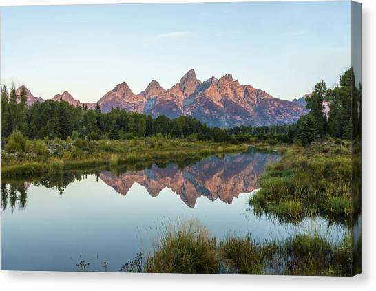 Wy Canvas Print - The Tetons Reflected On Schwabachers Landing - Grand Teton National Park Wyoming by Brian Harig
