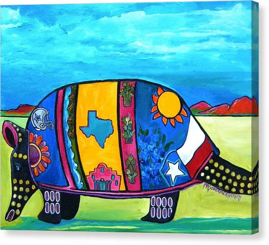 Dallas Cowboys Canvas Print - The Texas Armadillo by Patti Schermerhorn