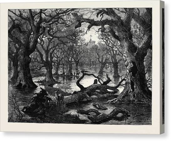 Garden Scene Canvas Print - The Thames Floods Scene In The Home Park Windsor 1879 by English School