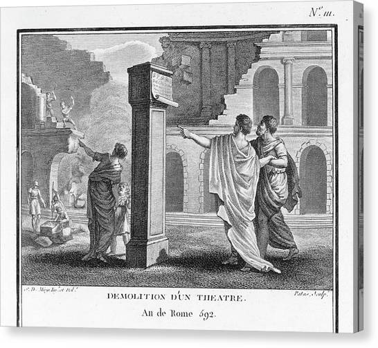 Influence Canvas Print - The Theatres Of Rome Are  Destroyed by Mary Evans Picture Library