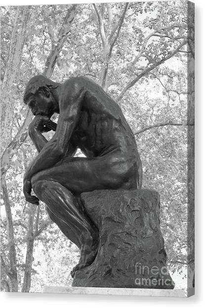 The Thinker - Philadelphia Bw Canvas Print