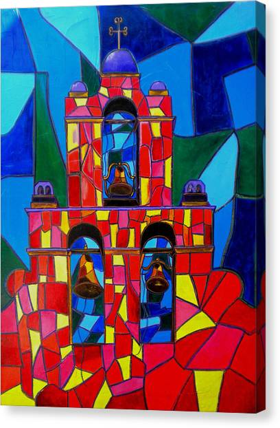 The Three Bells Of San Jose Mission Canvas Print by Patti Schermerhorn