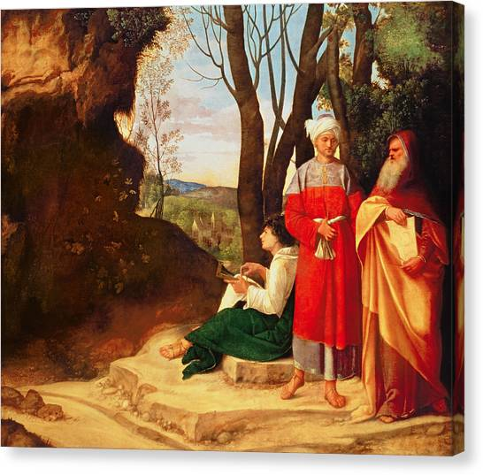 Philosopher Canvas Print - The Three Philosophers Oil On Canvas by Giorgione