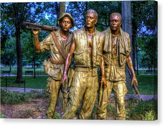 The Three Soldiers Facing The Wall Canvas Print