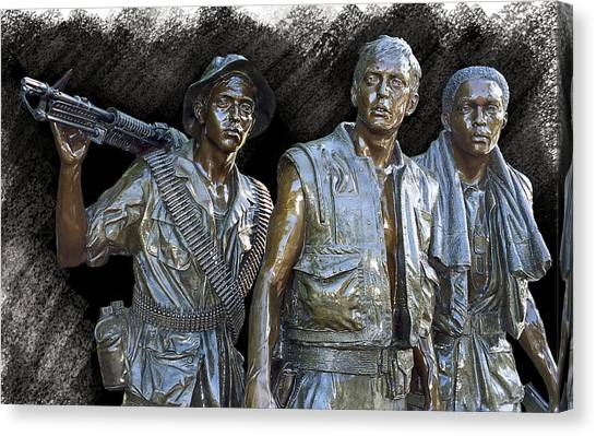 Special Forces Canvas Print - The Three Warriors Of Vietnam by Daniel Hagerman