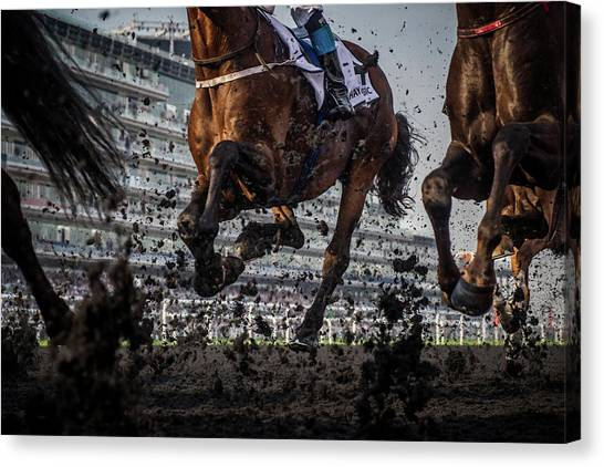 Horseracing Canvas Print - The Thunder Of The Hooves by Sharon Lee Chapman