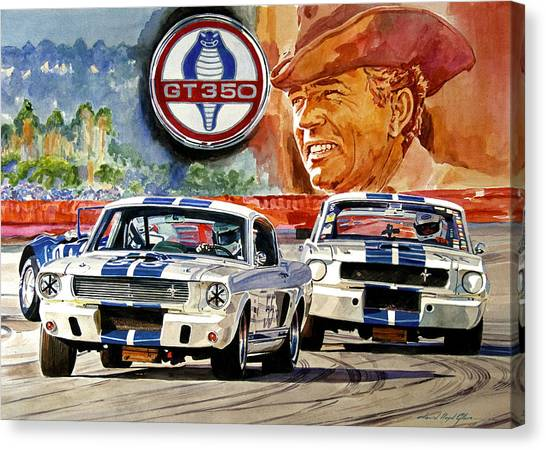 Cobras Canvas Print - The Thundering Blue Stripe Gt-350 by David Lloyd Glover