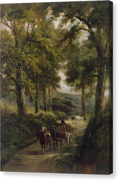 Country Roads Canvas Print - The Timber Wagon Oil On Canvas by Henry Earp