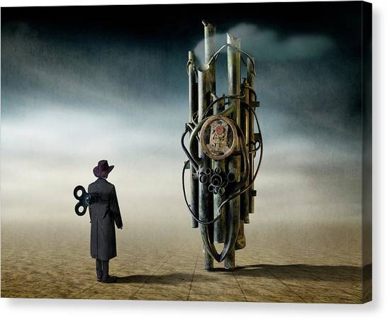 Construction Canvas Print - The Time Controler by Ben Goossens