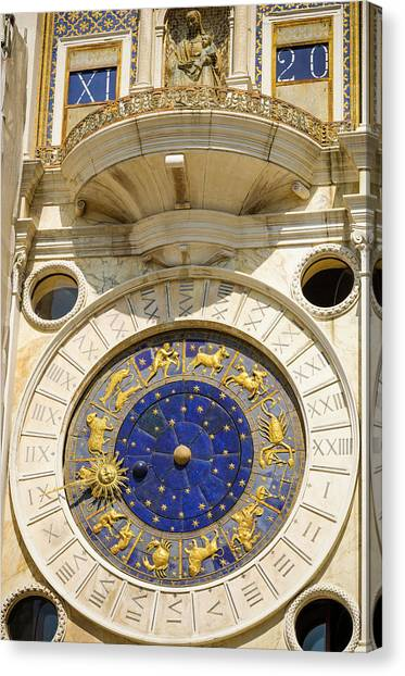 Byzantine Art Canvas Print - The Torre Dell'orologio In The Piazza by Russ Bishop