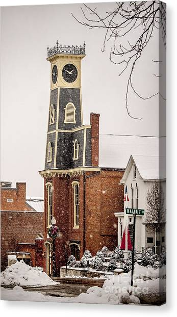 The Town Clock In December Canvas Print
