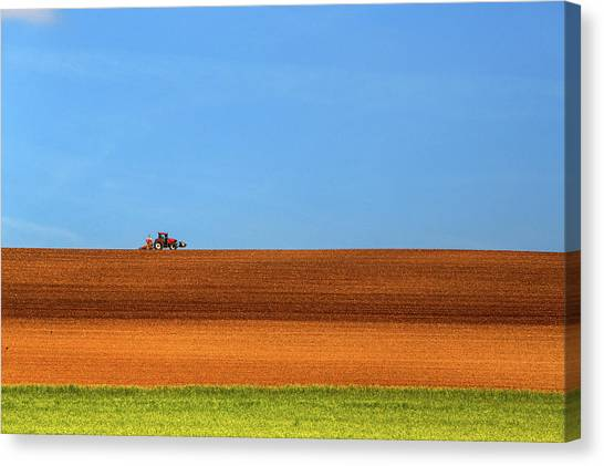 The Tractor Canvas Print by Massimo Della Latta