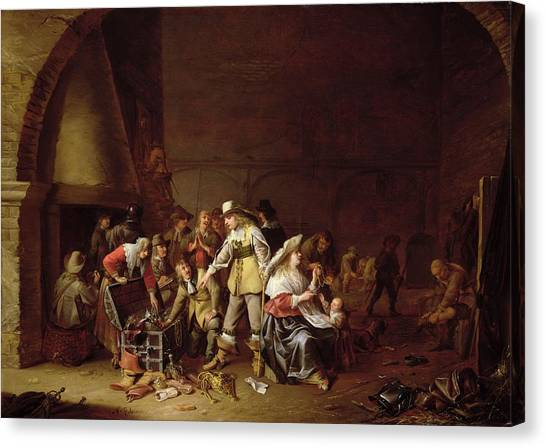 Cellar Canvas Print - The Treasure Trove Oil On Canvas by Anthonie Palamedesz