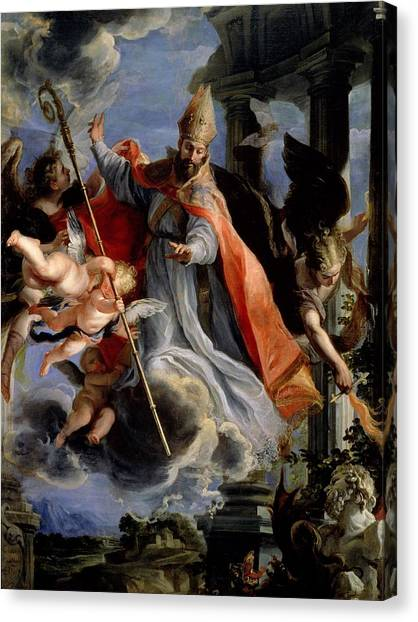 Bishops Canvas Print - The Triumph Of St. Augustine 354-430 1664 Oil On Canvas by Claudio Coello