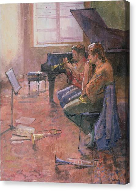 Music Stand Canvas Print - The Trumpet Lesson, 1998 Oil On Canvas by Bob Brown