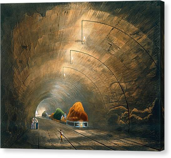 Train Canvas Print - The Tunnel, From Coloured View by Thomas Talbot Bury