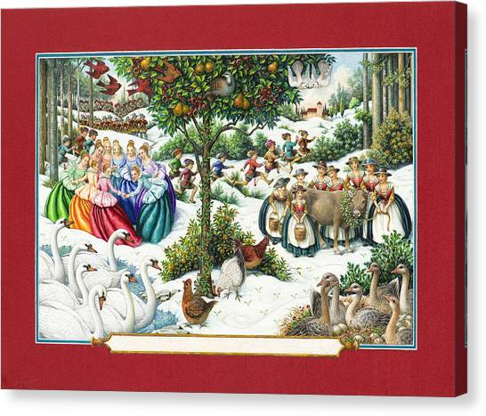 The Twelve Days Of Christmas Canvas Print
