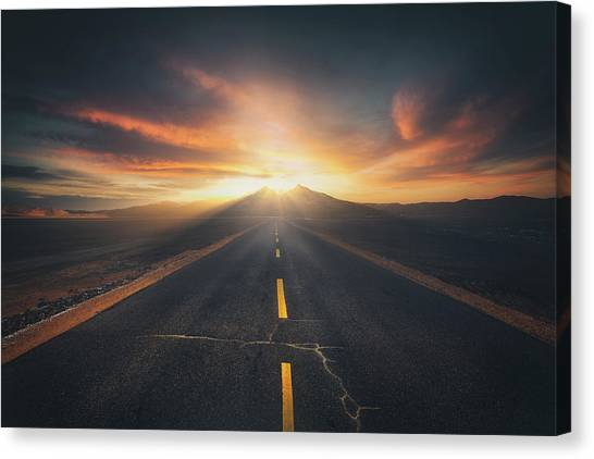 Mountain Sunrises Canvas Print - The Two Towers by Selinos