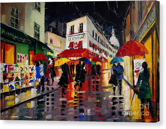 Sacre Coeur Canvas Print - The Umbrellas Of Montmartre - Paris Impressionism Palette Knife Cityscape by Mona Edulesco