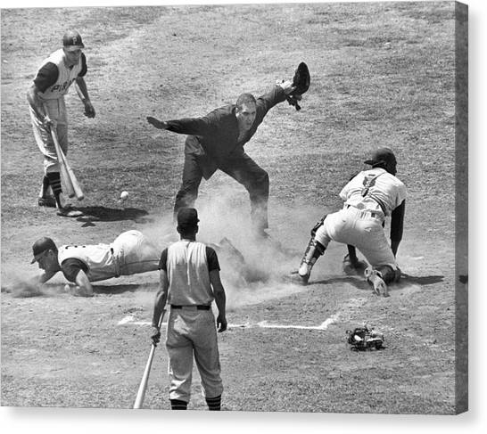Baseball Players Canvas Print - The Umpire Calls It Safe by Underwood Archives