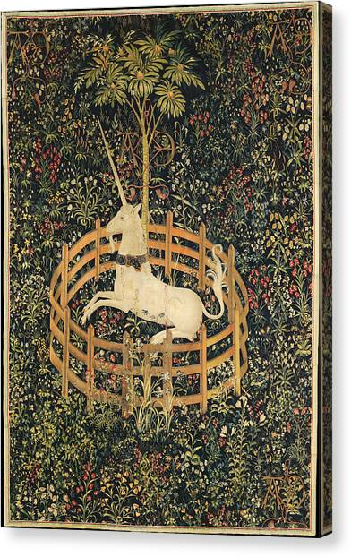 Canvas Print featuring the tapestry - textile The Unicorn In Captivity by Unknown