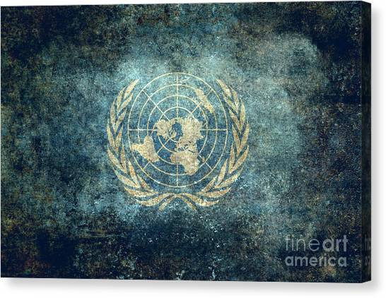 The United Nations Flag  Vintage Version Canvas Print