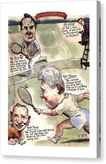 Bill Clinton Canvas Print - The U.s. Open by Barry Blitt