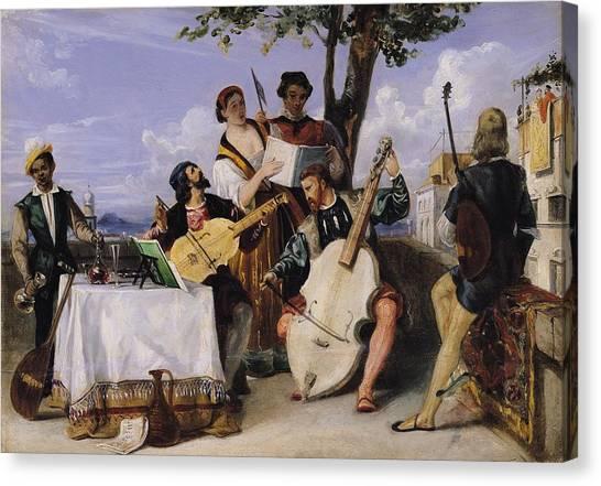Cellos Canvas Print - The Venetian Concert Oil On Panel by Alexandre-Jean-Baptiste Hesse