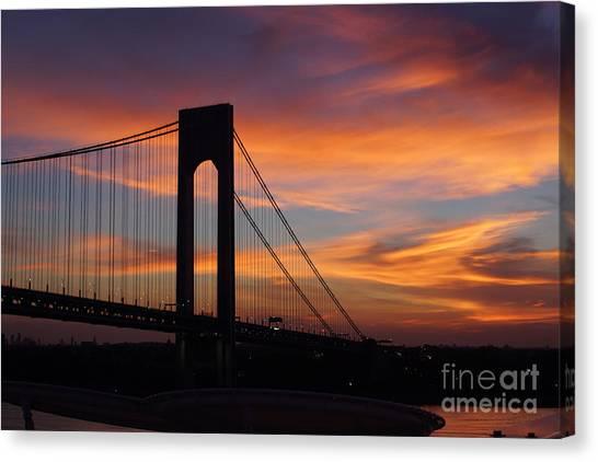 The Verrazano-narrows Bridge St Sunrise Canvas Print